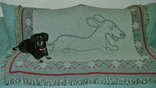 Wahoo Wiener Dachshund Throw Blanket