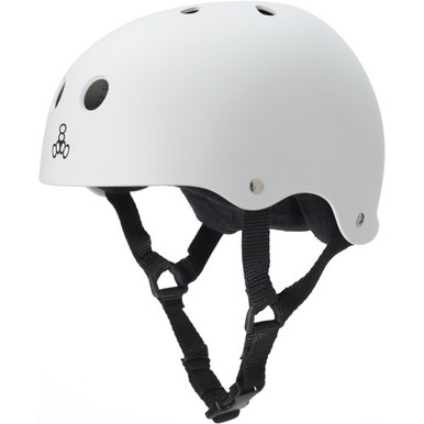 Triple Eight Brainsaver Rubber Helmet with Sweatsaver Liner - White Rubber