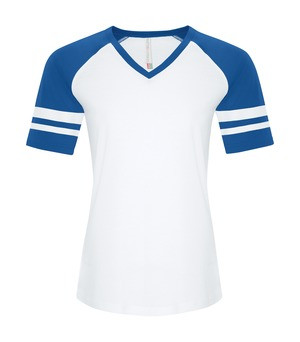 RING SPUN BASEBALL LADIES' TEE - ATC0822L - White True Royal