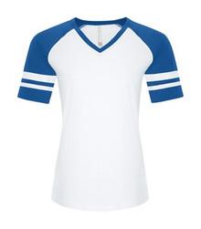 RING SPUN BASEBALL LADIES' TEE - ATC0822L - White True Royal