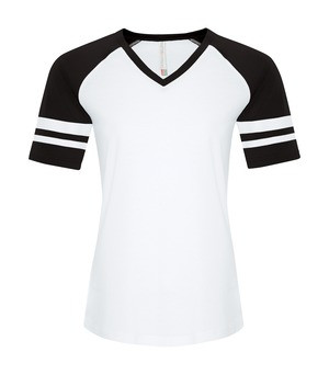 RING SPUN BASEBALL LADIES' TEE - ATC0822L - White Black