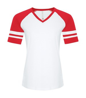 RING SPUN BASEBALL LADIES' TEE - ATC0822L - White True Red