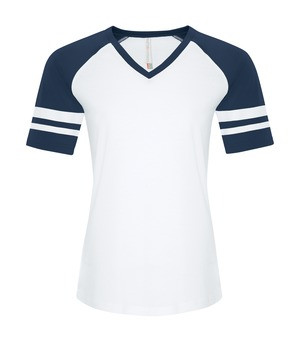 RING SPUN BASEBALL LADIES' TEE - ATC0822L - White True Navy