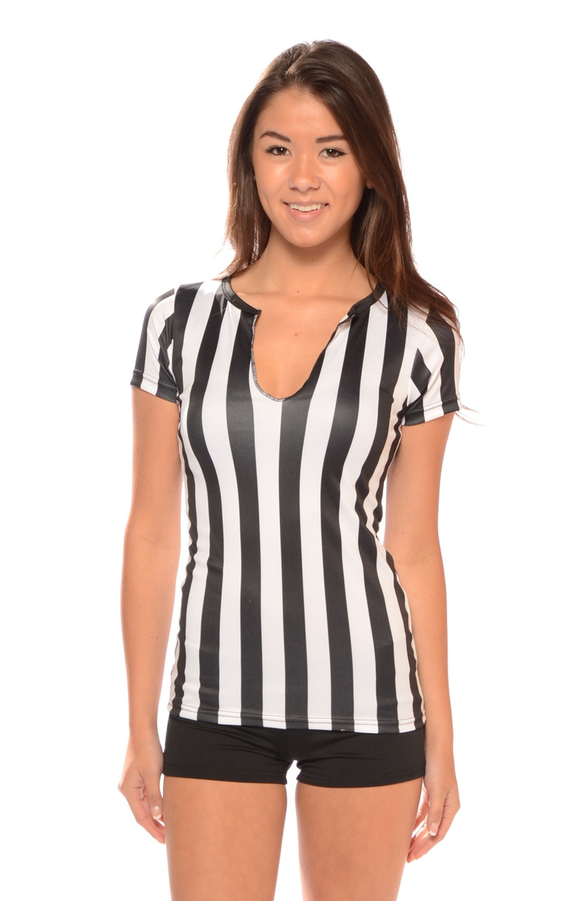 Women 39 s raw edge longer length referee shirt bad for Raw edge t shirt women s