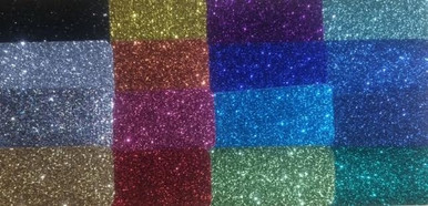 Glitter from top left to bottom : Black, Silver, Light Multi, Gold Second Row Top to bottom: Yellow Gold,Orange, Pink, Red,  Third Row Top to bottom: Purple, Bright Royal, Aqua, Light Green Fourth Row Top to bottom: , Jade, Royal, Navy, Green
