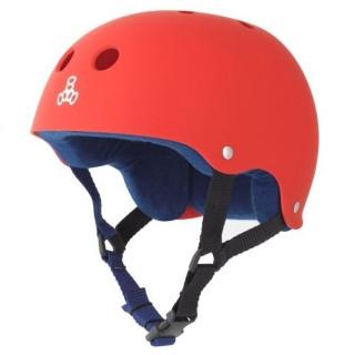 Triple Eight Brainsaver Rubber Helmet with Sweatsaver Liner - United Red