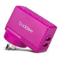 Buddee Wall Charger Dual Port USB 2.1A + 1A - Pink - BD205200-PK