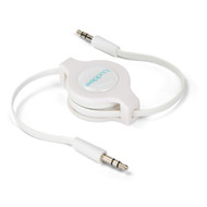 Buddee 3.5mm AUX Audio - White Audio Retractable TPE Flat Cbl - BD405030-WH