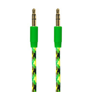 Gecko AUX 3.5 to 3.5 Cable Braided Fabric 1m Green/YLW - GG100088