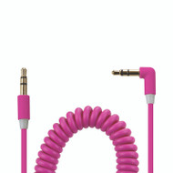 Gecko AUX Audio 90° Coiled Cable 1.8m - Pink
