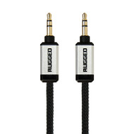 Gecko Rugged Aux Audio Round Cable 1m - Black