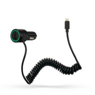 Gecko Car Charger with Coiled Lightning Cable 2.4 Amp - Black