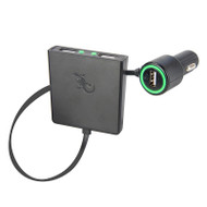 Gecko 3-port USB car charger with backseat charge 4.8A - Black