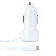 Gecko Car Charger with Flat Micro-USB Cable 2.4 Amp - White