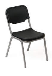 This Iceberg Rough n' Ready Stack Chair - shown in black finish - is designed for lasting durability. Perfect for all your stacking chair needs: school, office, break rooms, conference centers and banquet halls.  Made from high density polyethylene which makes them both scratch and dent resistant. Extra wide seat pan and seat back for comfort, will hold up to 250 lbs. Frame is made from heavy gauge powder coated steel tube. Chairs may be stacked up to 12 high. Available in Black, Charcoal, or Platinum  Sold 4 chairs per pack