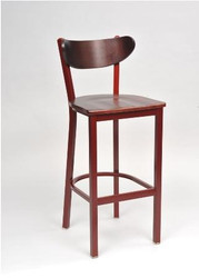 """Our Contoured Combo Bar Stool 1 sports a contoured back and is built to withstand commercial or home use. Choose from 5 metal frame finishes, 4 wood finishes, and a wide selection of fabric, vinyl and wood seat options. Available with matching chair, 24"""" and 30"""" swivel motion bar stool."""