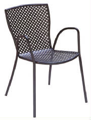 The Sonia Outdoor Metal Stacking Arm Chair will be perfect for your restaurant, bar or home out door patio.