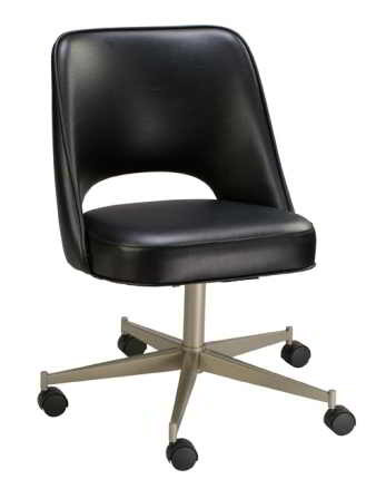 Open Back Bucket Chair In Black Finish, Front View.