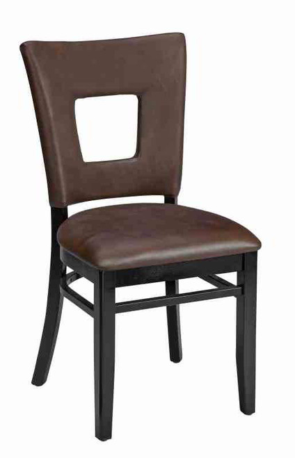 Open Back Upholstered Wood Dining Chair, Slip Style Seat (front View)
