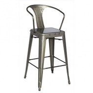Our French Inspired Industrial Chic Bar Stool in Gunmetal.