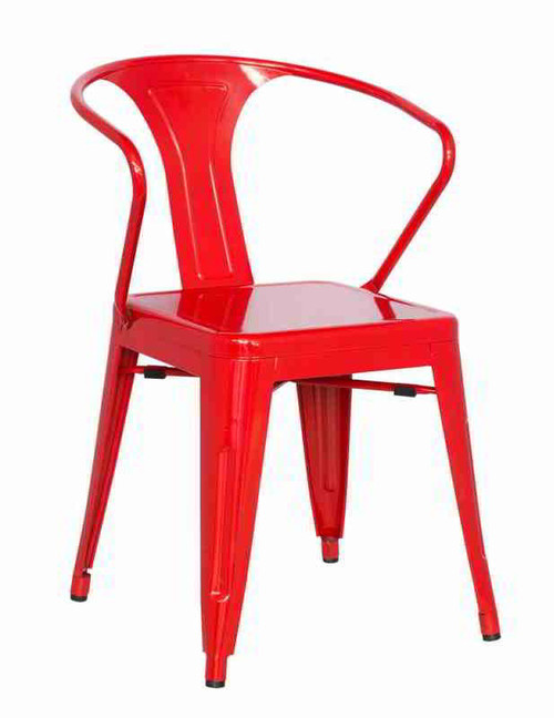 Etonnant Galvanized Steel Side Chair With Rolled Arm In Red.