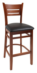 Our Danielson Wood Bar Stool (shown in stool height with black cushioned seat), is perfect for commercial or home use. Available in stool or chair height, with optional black cushion seat.