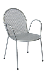 Outdoor metal powder-coated chair with silver finish for your home, restaurant or bar summer seating area.
