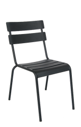 Outdoor steel ladder-back chair with black finish, stackable. Stylish and easy for your home, restaurant or bar outdoor seating area.