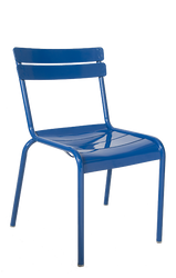 Outdoor steel ladder-back chair in blue, stackable. For home or commercial use.