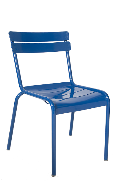 This Outdoor Steel Ladder Back Chair In Blue Is Eye Catching, Durable,