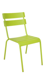 This outdoor steel ladder-back chair in green is eye-catching, durable, and stackable. This chair is perfect for commercial or home use.