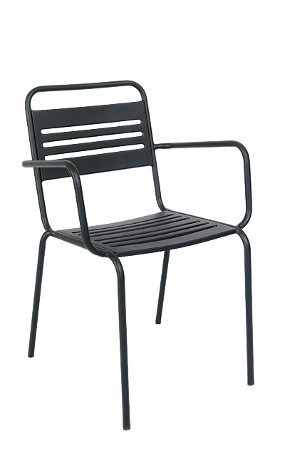 This Outdoor Armchair In Black Features A Powder Coated Steel Frame For  Durability And Stackable
