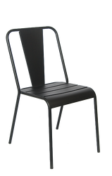 Outdoor black iron chair for home, restaurant or bar.
