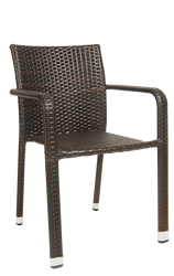 Outdoor steel armchair in brown rattan finish, for your home, restaurant or bar patio.