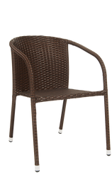 Outdoor steel rattan chair in black/brown mixed color, powder-coated. For your home, restaurant, or bar patio.