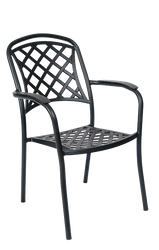 Outdoor aluminum chair in antique bronze finish, for commercial or residential outdoor seating.
