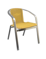 Outdoor armchair (aluminum) with synthetic bamboo in natural finish.