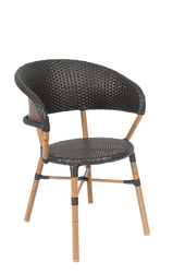 Outdoor aluminum/synthetic wicker chair for commercial or residential use.