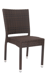 Outdoor wicker chair (aluminum/synthetic), no arms, for commercial or home seating.