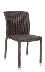 Outdoor wicker chair, armless, aluminum/synthetic. For commercial and residential outdoor use.