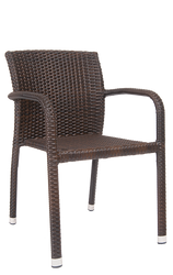 Outdoor aluminum/synthetic wicker armchair for your bar, restaurant, or home seating area.