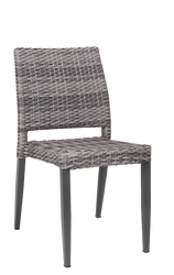 Outdoor aluminum/poly-woven armless chair for bar, restaurant, or home.