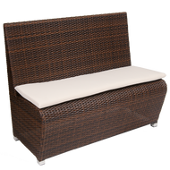Outdoor bench (poly-woven, with aluminum frame) for commercial or residential outdoor seating.