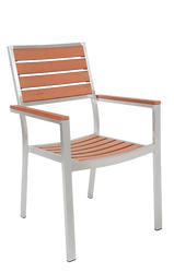 Outdoor aluminum armchair with imitation teak slats for bar, restaurant, or home seating.