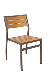 This outdoor aluminum chair is perfect for your home or restaurant and features: Aluminum Frame to Endure Outdoor Use and Imitation Teak Slats (3-Slat Back).