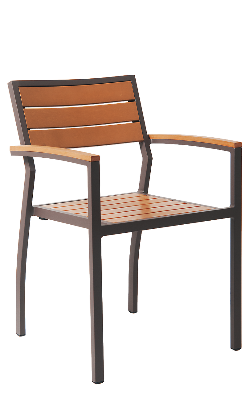 Outdoor Chair Set Slat Back Dining Chairs With Arms