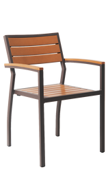 This functional aluminum outdoor armchair has the following characteristics: Imitation Teak Slats, Open Back, Aluminum Frame to Endure Commercial Use, and Two Arms Comfort and Support.