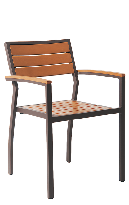 Merveilleux This Functional Aluminum Outdoor Armchair Has The Following  Characteristics: Imitation Teak Slats, Open Back
