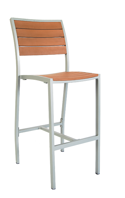 Aluminum Frame Bar Stool Imitation Wood Slats Bar Stools