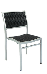 Outdoor aluminum chair with synthetic wicker woven back and seat in black color.